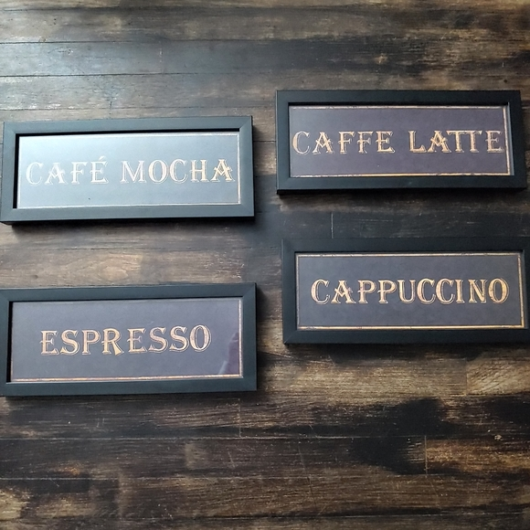 Coffee/Cafe Framed Glass Wall Signs